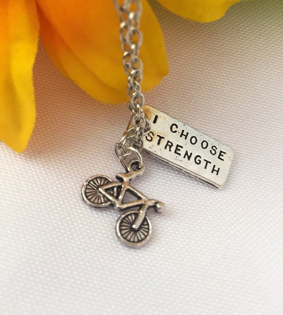 Sports Fitness Jewelry - Bike Race Necklace - I Choose Strength Charm - Cycling Biking Team Coach Necklace Gift - Bike Charm - Athlete Gift