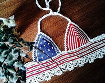 FREE SHIPPING! Crochet top, American Flag top, USA flag, crop top, Festival, Handmade, Hippie, Coachella, Gypsy style, Boho, Bohemian