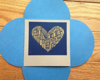 Valentine's Day Card: navy, blue, gold, and tan