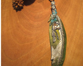 Oceanbird necklace, feather, Paua shell