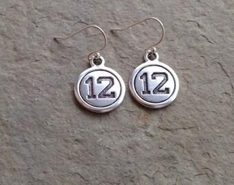 Seahawks inspired earrings / 12th Woman Earrings / Silver Seahawks 12 dangle earrings