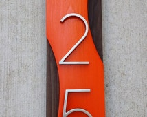 Unique house numbers related items etsy for Mid century modern address numbers