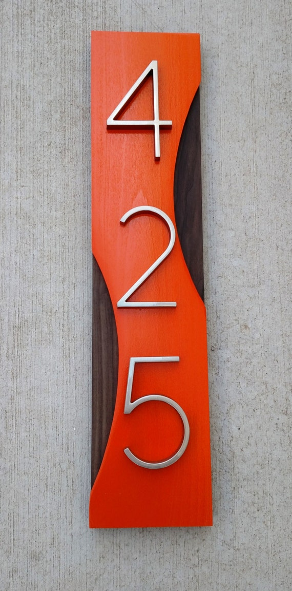 Mid Century Modern Address Plaque- House Numbers- Address Sign- Custom Address- Retro- Retro Style- Housewarming Gift
