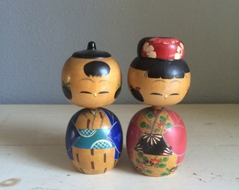 vintage, kokeshi style, japanese wood, bobble head dolls, man and woman, pair