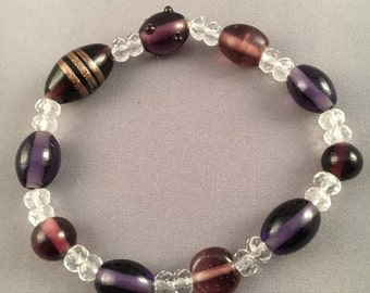 Oval plum Beaded Bracelet