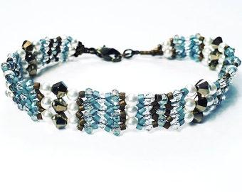 Blue & Bronze Intricate Beaded Bracelet