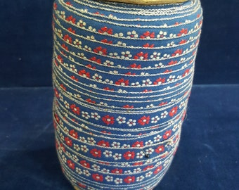 Vintage woven cotten trim red white and blue flowers BTY