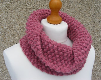 Pink Hand Knitted Cowl, Short Infinity Scarf, Moss/Seed Stitch Cowl, Winter Neckwarmer, Women's Pink Cowl Scarf, Chunky Knits, Ready To Ship