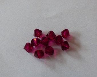 6mm ruby Swarovski crystal beads (10)