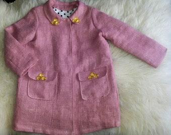 Linen coat for girls