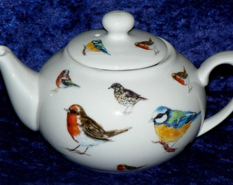 Garden Birds teapot - 2 cup or 6 cup teapot decorated allover with popular garden birds Robin, Bluetit.Thrush,Chaffinch