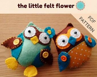 DIY Owl Pattern-2 Owls-PDF Felt Pattern-Felt tutorial-Felt Owl PDF-Owl decoration-Owl sewing pattern- Felt Patterns
