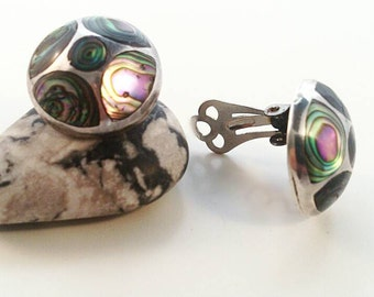 Mexican abalone silver clips earrings