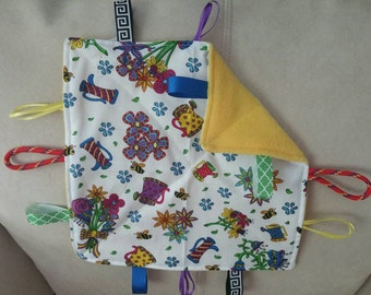 Flower-sensory toy- crinkle toy-security blanket- baby shower gift