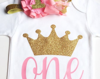 Baby Toddler Pink and Gold Glitter Princess Crown Birthday Set