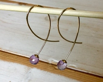 Amethyst Drop Earrings, Yellow Gold Drop Earrings with Faceted Amethyst Beads, 9ct dangle earrings with faceted gemstone bead