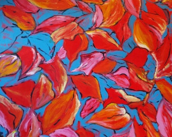 Red/Blue Acrylic Abstract Artwork