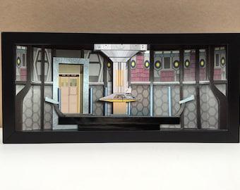 Doctor Who Tardis interior shadowbox diorama