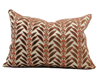 "Brown and Red Leaf Motif Velvet Detail Lumbar Pillow Cover in 14"" x 20"""