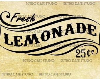 Digital Download Vintage Fresh Lemonade Wood Sign Transfer Clip Art HQ; No 1091