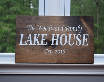 Family Lake House Sign, Lake Home, Family home, Personalized name sign for Lake house, birthday gift, christmas gift, Established Date
