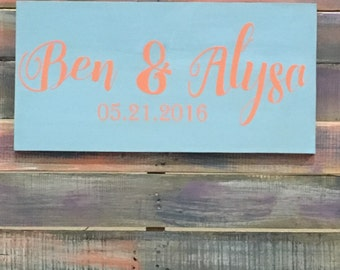 Custom made wall hanging sign with bride and grooms name and wedding date, Wedding keepsake, Marriage memorbilia, Wedding decor Wedding gift