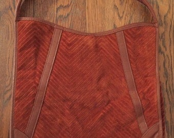 Vintage Victoria USA Burnt Orange Velour Fabric Handbag • Boho • Hippie • 1970's • Festival