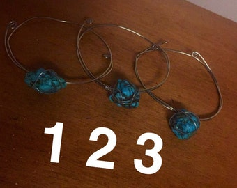 Turquoise silver wire wrapped bangle