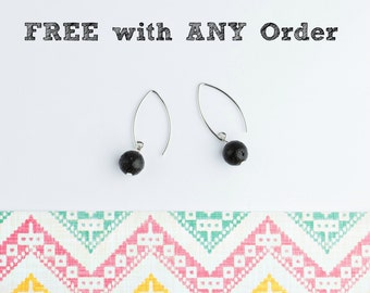 FREE with ANY order - See Details - Lava Bead Earrings, Minimalist Essential Oil Diffuser Earrings