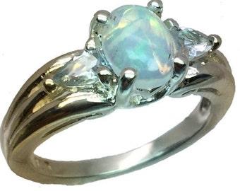 Ethiopian Opal & Aquamarine Silver Ring, Free Sizing