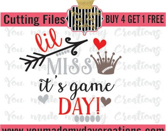 Buy 4 get 1 FREE*** Lil Miss its game day SVG , EPS, dxf, & png Cutting Files Stitches Crown Hearts dots