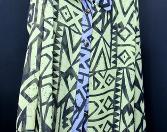 Tribal print contrast blouse