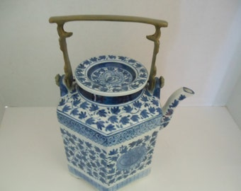 Vintage Blue & White Teapot W/ Brass Handle/ Made in Thailand