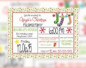 Christmas Sleepover Kids Birthday Invitations, Christmas Sleepover Invitation. Christmas Pajama Party Inviations