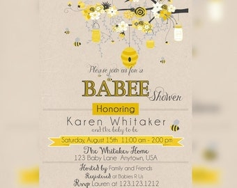 Bumble Bee Baby Shower Invitation, Baby BEE Shower Invitations, Mommy to BEE Baby shower Invitation, Honey Bee shower Invitation, Printable