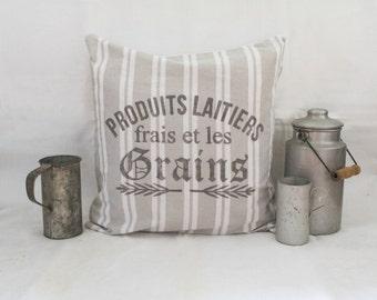 """Pillowcase """"Grains"""" (light grey white stripes, 100% cotton)"""