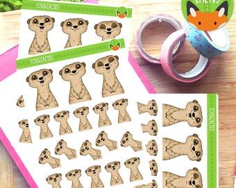 Meerkats - Cute Peek-a-boo animal Meerkat - Planner Stickers