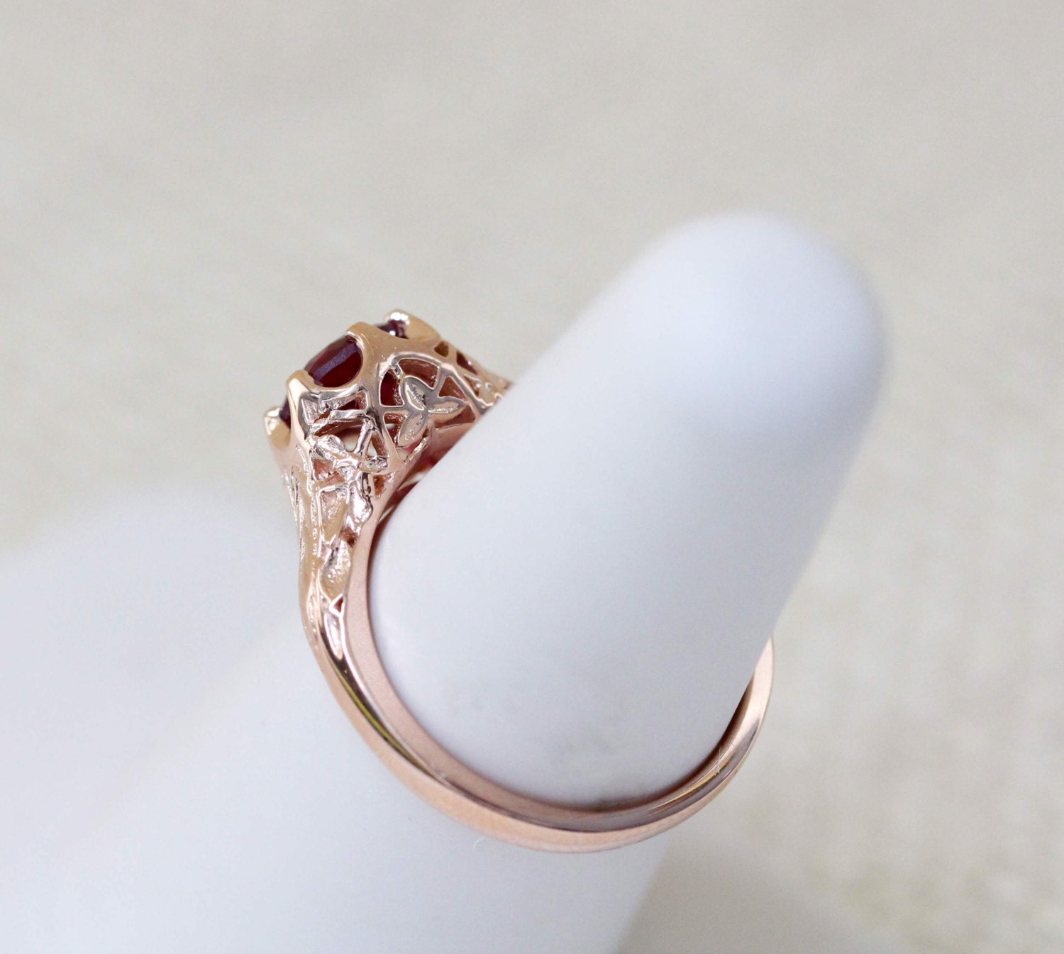 Antique Style Ruby Solitaire 14K Rose Gold Ring Antique