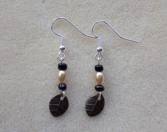 Dangle Bead and Leaf Earrings
