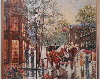 Very Rare Needlepoint Kit - APRIL in OLD ASPEN Heritage Collection by Elsa Williams Kit 06013 Design sz 18x14, City, Horse, Street, carriage