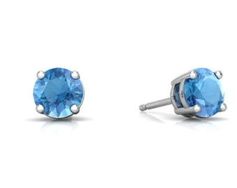 4mm 5mm 6mm 7mm 8mm 9mm Round Blue Zircon Cz Solid 925 Sterling Silver Stud Casting Set Blue Zircon December Birthstone Gift