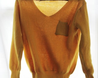 Golden-Yellow Knitted V-Neck Sweater S/M
