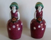 Vintage Art Deco Style Salt and Pepper Shakers Japan Flappers