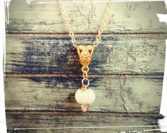 Freshwater Pearl Drop Gold Necklace - Swarovski Crystal Birthstone accent - Personalize Yours - Delicate/Minimalist/Non Tarnish Gold Chain