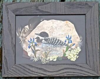 Loon on birch bark, Maine loon, loon art, loon painting, birch art, wildlife art, original art, Maine art, framed 5x7