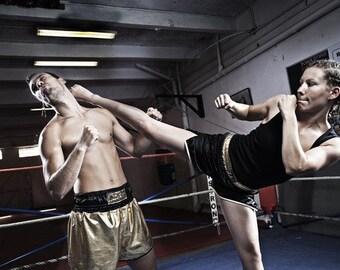 Gold coated jersey and black satin boxing short ZAT Balboa
