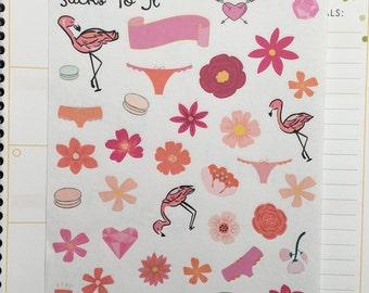 Flower Power Embellishment Stickers ECLP Mambi Inkwell Press Filofax Kikki K Happy Life Planner spring floral tropical