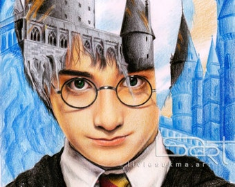 Harry Potter 1st year drawing (multiple exposure theme)