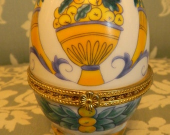 Egg collection porcelain, box patterned Italian Renaissance.