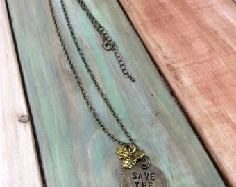 Save the Bees Brass Honey Bee Charm Necklace